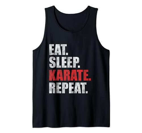 Eat Sleep Karate Repeat Camiseta sin Mangas