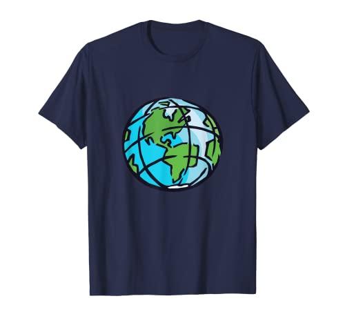 Tierra Spinning Planeta Eje Norte Polo Sur Camiseta