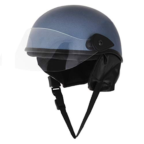 Sage Square Scooty Half Helmet for Men, Women (Metallic Blue Matte, Medium)