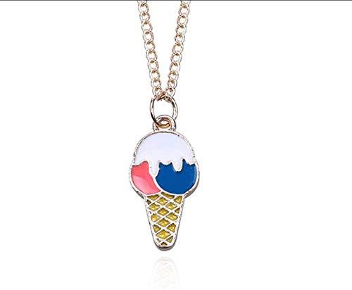 BACKZY MXJP Halskette Fashion Food Miniatur EIS Anhänger Halsketten Emaille Metall Beste Freunde Für Immer Frauen Schmuck Dropshipping