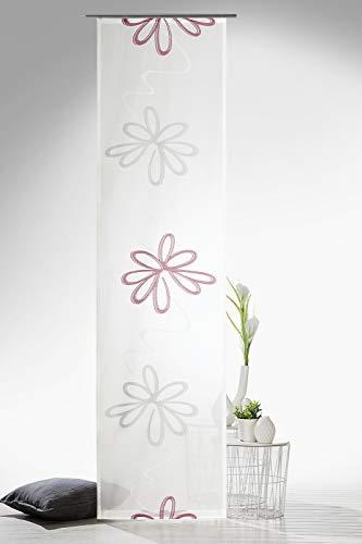 heimtexland ® Flächenvorhang Blumen inkl. Zubehör 60x245cm Gardine Natur Schiebegardine Beere Rosa Typ596