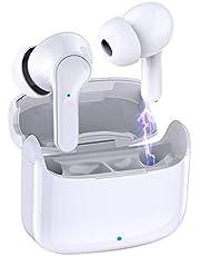 Auriculares Inalámbricos Bluetooth, Donerton Auriculares Bluetooth 5.0 con Estéreo Micrófono TWS Cascos In-Ear, IP7 Impermeable, con Caja de Carga Portátil, 8 Horas de reproducción Permanente, Blanco