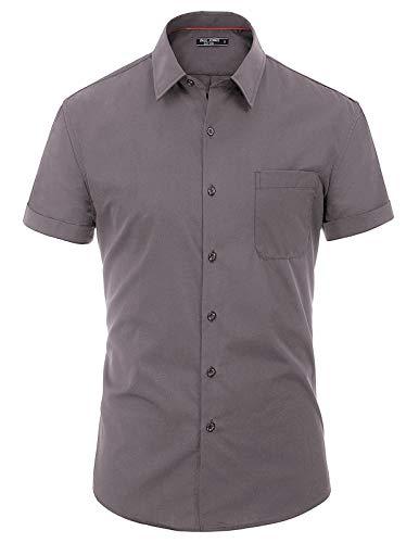 H2H Mens Basic Fashion Dressy Short Sleeves Shirt Gray US XL/Asia 2XL (KMTSTS0133)