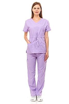Scrubs For Women Medical Nurses Uniform Mock Wrap Adjustable Front Bow 8 Pocket Set Excellent Quality By Denice 1108