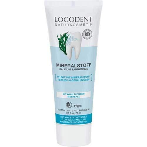 LOGODENT Natuurlijke cosmetica minerale stof calcium tandcrème, mild-frisse smaak, vrij van synthetische fluoridetoevoegingen, met mineraalrijk algeneraties, veganistisch, 1 x 75 ml parent 75