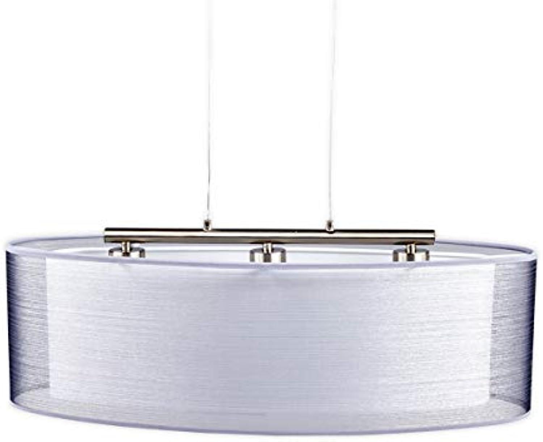 Lampenwelt Pendelleuchte 'Nica' dimmbar (Modern) in Alu aus Textil u.a. für Wohnzimmer & Esszimmer (3 flammig, E27, A++) - Hngeleuchte, Esstischlampe, Hngelampe, Hngeleuchte, Wohnzimmerlampe