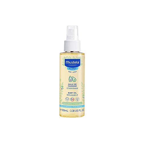 Mustela Baby Oil - Moisturizing Oil for Baby Massage - with Natural Avocado, Pomegranate & Sunflower Oil - 3.38 fl. oz.