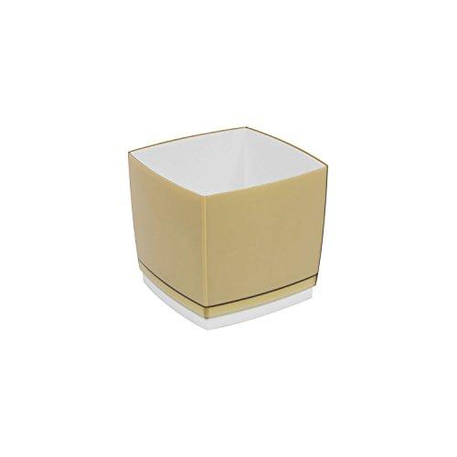 Pot de fleur, cache pot Designo Cube, hauteur 13,5 cm, en mocca, beige