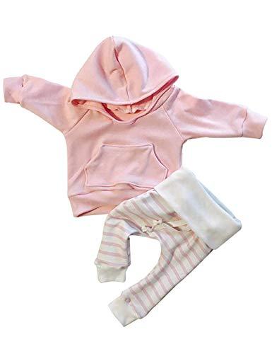 Newborn Baby Girls Clothes Pink Stripe Long Sleeve Hoodie Tops+Pants...