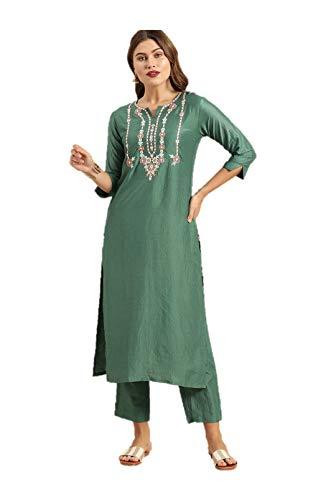 Kurti Set für Frauen Indische Designer Kleider Tunika Tops Kurta mit Palazzos Set Party Wear - Grün - Large