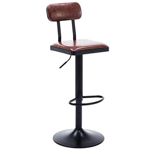 HTDZDX Taburete Alto Taburete de Bar, Elevación Respaldo tapizado Reposapiés Giratorio Barra de Desayuno Escritorio Mesa de Cocina Sillas de mostrador Altura giratoria (Color : Brown)