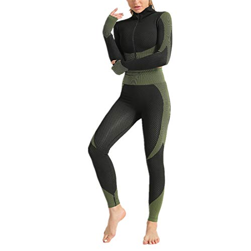 Fyj Women Yoga Gym Top Long Sleeve with Workout Running Shirts Seamless Tights Yoga Sets for Women 2PC Scrunch Yoga Leggings with Sports Gym Clothes Sleeve T-Shirt Tops Jogging Trousers S