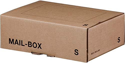 smartboxpro® Versandkarton MAILBOX, S, Steckverschluss, 255 x 185 x 85 mm, innen: 249 x 175 x 79 mm, braun (20 Stück), Sie erhalten 1 Packung á 20 Stück