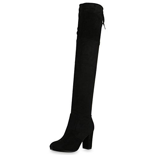 SCARPE VITA Damen Stiefel Overknees 70s Langschaft Boots Blockabsatz 164150 Schwarz 37