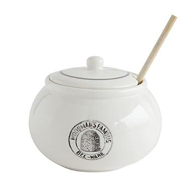 Creative Co-Op DA6817 3 Piece White Stoneware Honey Pot with Lid & Wood Honey Dipper