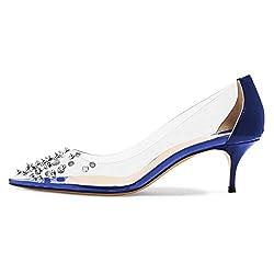 Rhinestone Studded Pointy Toe Mid Spike Heels In Blue