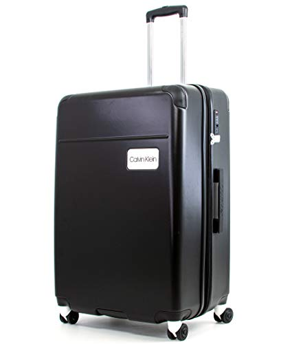 Calvin Klein Casual Hardside Spinner Luggage with TSA Lock, Black, 29 Inch