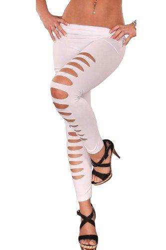 Amour - Leggings Tattoo Magazine Print Style Spitze lace Leder optik gothic (M, C917w)