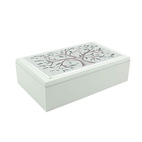 Thilia - Caja joyero laminada de plata árbol de la vida - Madera blanca 20,5 x 12 12,5 x 6 cm Cód: 452669