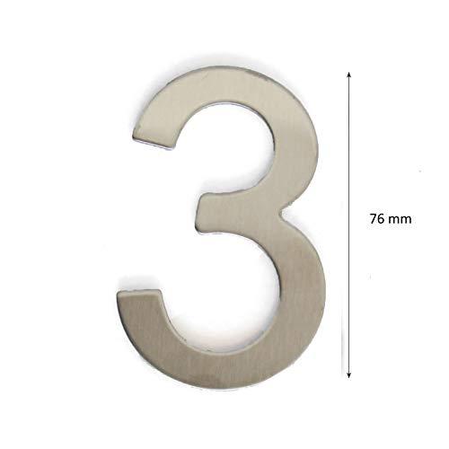 Hausnummer, Tür- oder Hausnummer, in Ziffer 0, aus Edelstahl Glänzendes Silber, mit Klebefolie, 76 mm hoch (3)