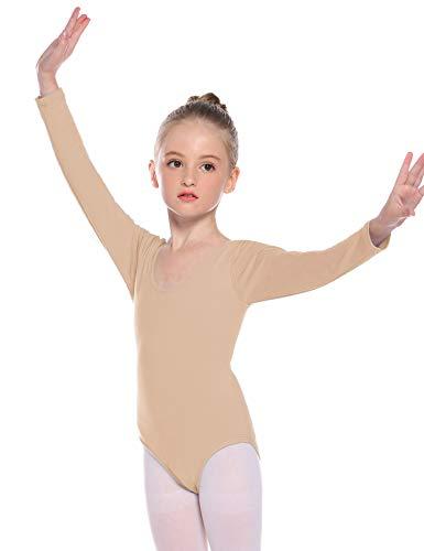 Hawiton Dziewczęca sukienka baletowa, sukienka baletowa, z długim rękawem, okrągły dekolt, gimnastyka, taneczna body do tańca ze spódniczką tutuu