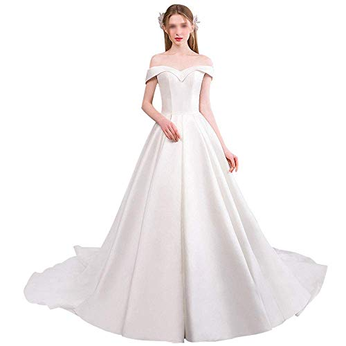 Señoras Palabra Hombro Satén Vestido de Novia Cola Princesa Vestido de Novia...