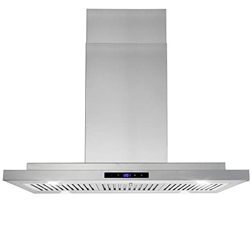 AKDY 36 in.Convertible Island Mount Range Hood with LED Lights in Stainless Steel, Touch Control and Carbon Filters