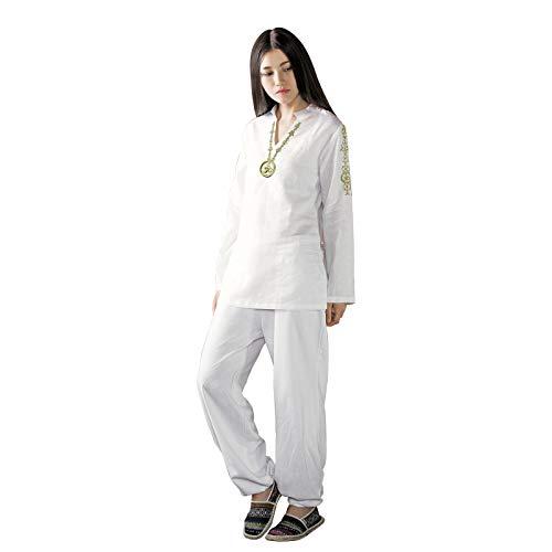KSUA Traje de Yoga para Mujer con OM Diseño Algodón Zen Traje de meditación Ropa de Artes Marciales de Tai Chi Uniforme Mangas largas Blanco, EU M/Etiqueta L