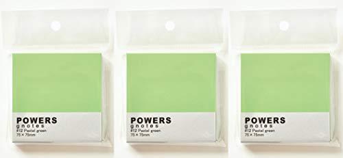 プリントインフォームジャパン gnotes 粘着力と糊面積アップふせん 「POWERS」75×75mm 【3個セット】 (パステルグリーン)