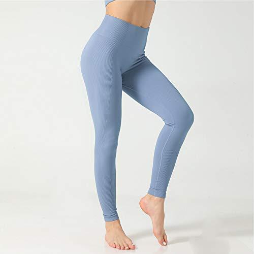 Leggings Rayas Sin Costuras para Mujer, Pantalones Yoga Entrenamiento Cintura Alta, Pantalones Fitness Deportivos para Correr Control Abdomen,Azul,M