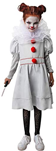 Gojoy shop- Disfraz de Payaso Asesino para Niñas Halloween (Contiene Vestido y Cuello, 4 Tallas Diferentes) (5-6 años)