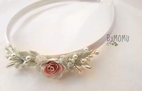 Diadema-headbands niña Flores Porcelana Rosa pastel