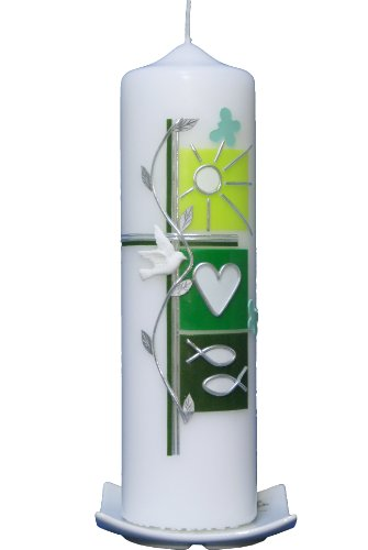 Taufkerze Sommer grün 25x7cm, wird NUR auf Kundenwunsch für Sie gefertigt. Bei uns bekommen sie keine Massenware. Jede Kerze für sich, ist ein Unikat.