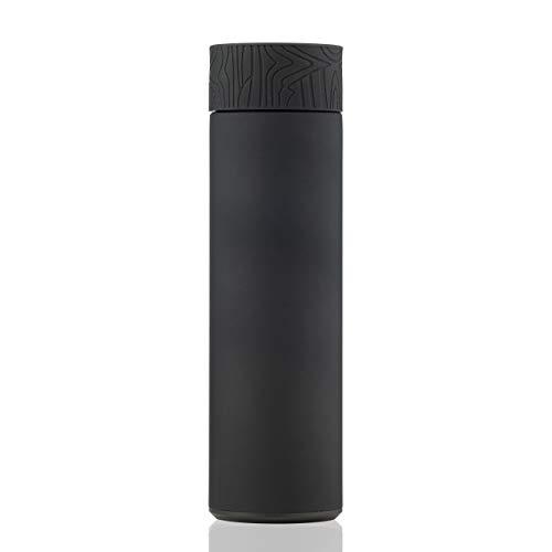 BOHORIA® Premium Vakuum Isolierflasche Thermosflasche 0,5 L aus 18/8 Edelstahl   leicht und kompakt für Kinder, Uni, Schule, Sport (Midnight Black)
