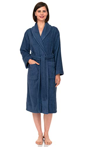 TowelSelections Women's Robe, Turkish Cotton Terry Shawl Bathrobe X-Small/Small Bijou Blue