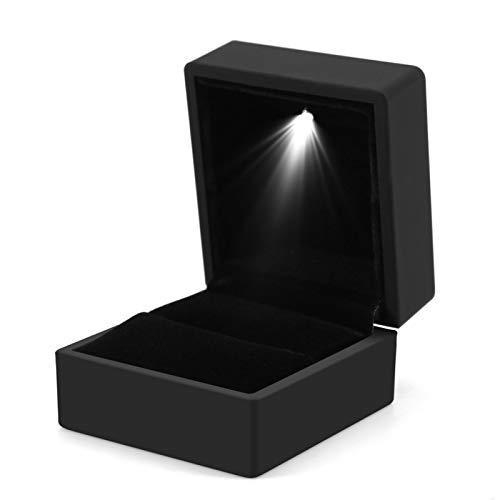 FILFEEL Caja de Anillo, Caja de Almacenamiento de Anillo con iluminación LED de Moda Caja de Regalo de exhibición de joyería (vacía)(Negro)