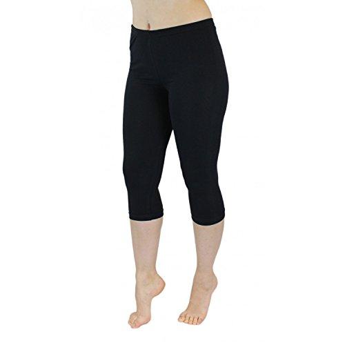 Blickdichte Leggings für Damen Capri Hose Leggins Bunt aus Baumwolle 3/4 Länge, Farbe: Schwarz, Größe: 48-50