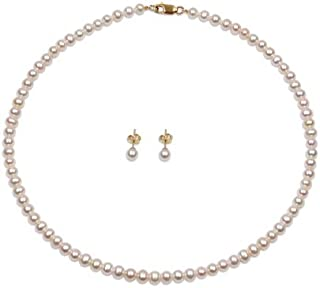 MIKURA Freshwater Pearl 2 Pieces Set, 6.0mm, 18K