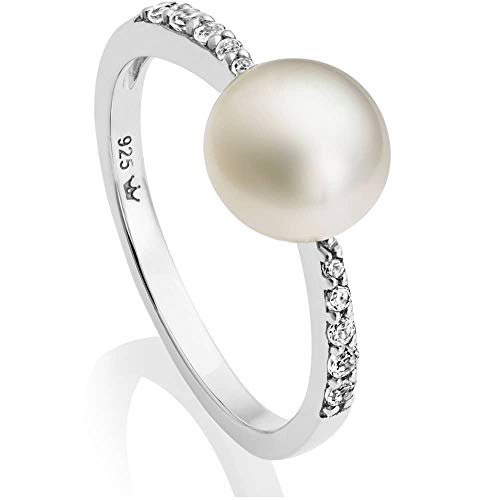 Jersey Pearl Amberley Sterling Silver Freshwater Pearl White Topaz Ring AMR1-O