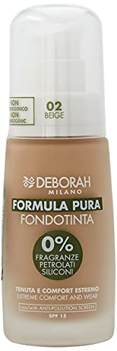 Deborah Fondotinta Formula Pura N.02 Beige Senza Parabeni, Tenuta e Comfort Estremi con Filtro Anti Inquinamento, SPF15 - 30 ml