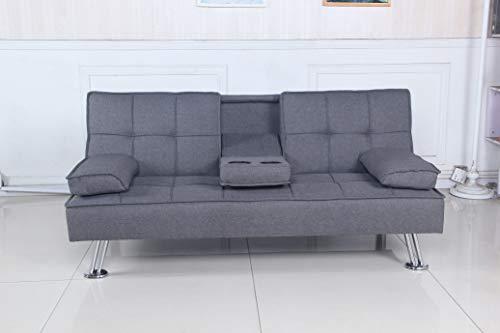 SHIITO - Sofá Cama 168x88x77 cm Modelo OPORTO JH957 tapizado en Tela Color Gris