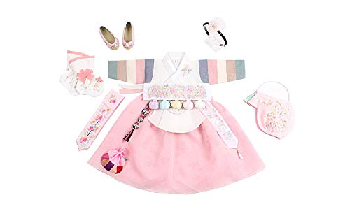 Beautiful Hanbok Dress First Birthday Korean Clothing Baby Girl Dol Party Adorable Dolbok Pastel Peach