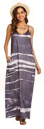 Women's Summer Casual Maxi Swing Dress Sleeveless Boho Long Dress with Pockets(Dark Grey,L)