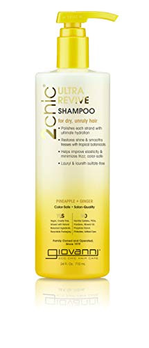 GIOVANNI Ultra Revive Shampoo 24 oz Pineapple amp Ginger to Moisturize Dry Unruly Hair Enriched with Coconut Guava Aloe Vera ProVitamin B5 Sulfate Free No Parabens Color Safe Pack of 1