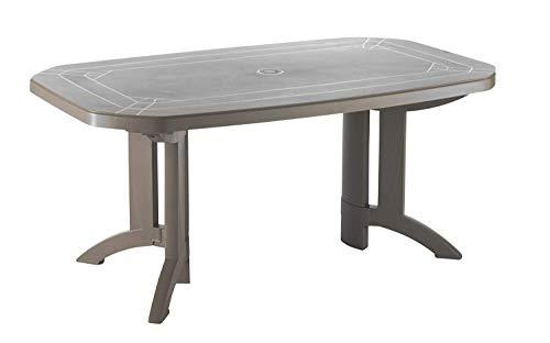 Ondis24 Table de jardin Vega - 165 x 100 x 72 cm - Facile d'entretien - Résistante aux UV et aux intempéries (taupe)