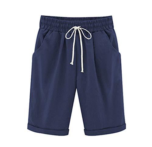 Elonglin Shorts Uni-Couleur avec élastique Ceinture de Pantalon Bermuda Femme en Coton Coupe Large Poche Casual Eté Loisir Quotidien Bleu Foncé Taille FR 54 (Asie 8XL)