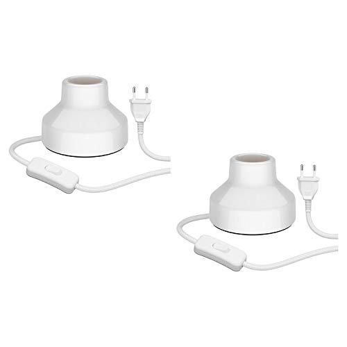 ledscom.de E27 Porzellan Tischleuchte TIX, rund mit Stecker und Schalter, weiß, 90mm, 2 Stk.