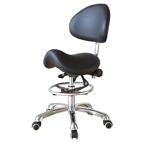 Hydraulic Adjustable Rolling Ergonomic Seat Style Saddle Stool Chair with Backrest and Footrest for Home Office Dental Clinic Use(FOHGFNT) (Black)