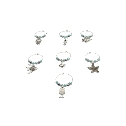 Ocean Themed Wine Glass Charm Rings - Beach Life - Lt Aquamarine And Hematite Beaded Tags Earring Hoop Markers - 6 Piece Set - Helix Shell Starfish Seahorse Crab Tropical Fish Sea Turtle (Natural Hematite)