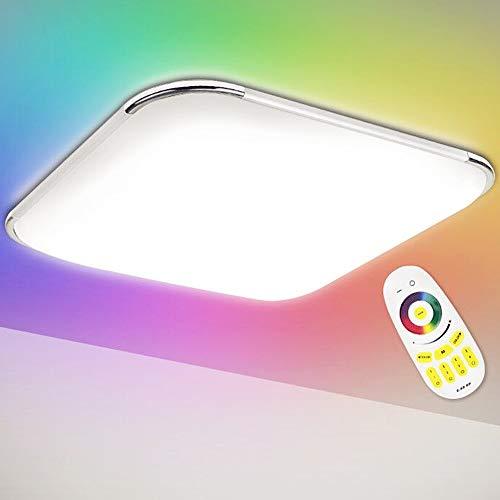 Hengda 36W LED Deckenleuchte, RGB Farbwechsel, Dimmbar, Farbtemperatur Einstellbar, Deckenlampe mit Fernbedienung, Wohnzimmer Lampe für Bad, Schlafzimmer, Küche, IP44, 3240LM